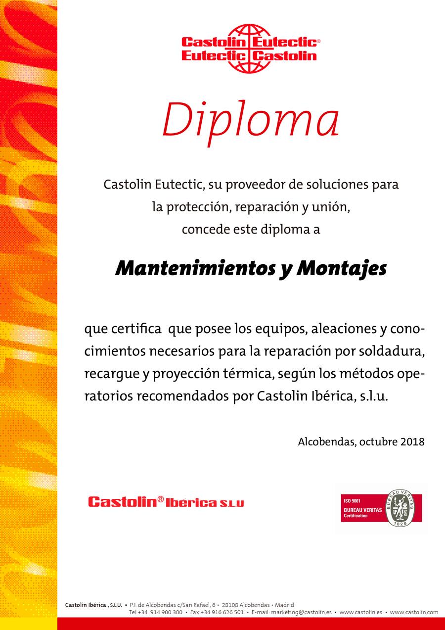 Certificado Castolin Eurectic - Mantenimientos y Montajes SCA