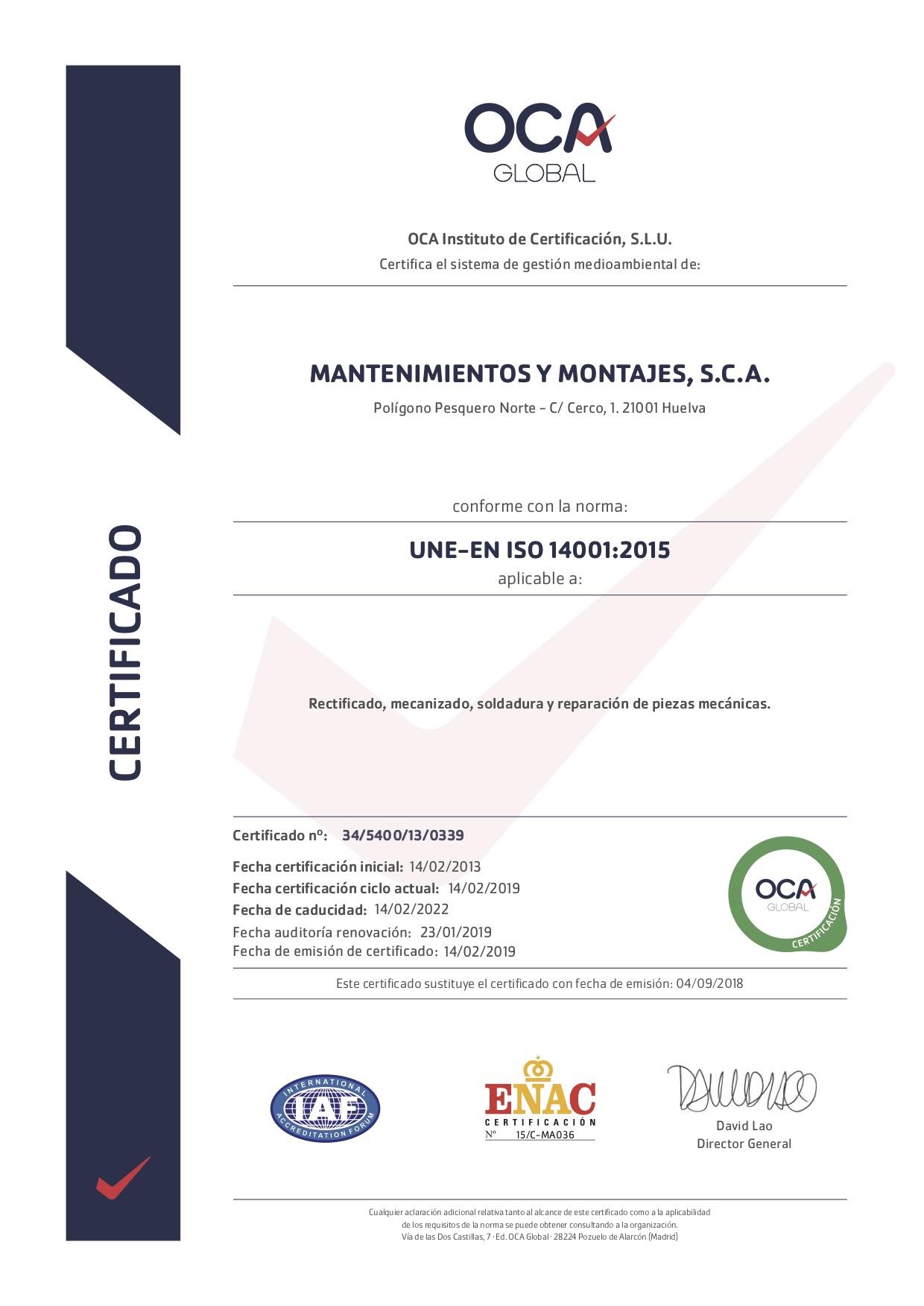 Certificado de Medio Ambiente